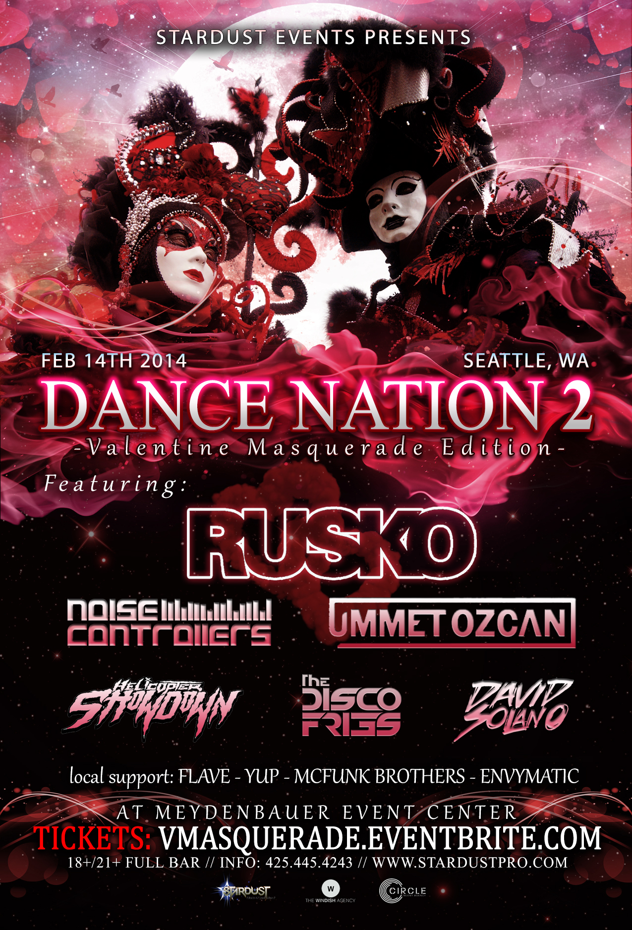 """Dance Nation II """"Valentine Masquerade"""" with Rusko, Ummet Ozcan, Noisecontrollers, Disco Fries & More!"""