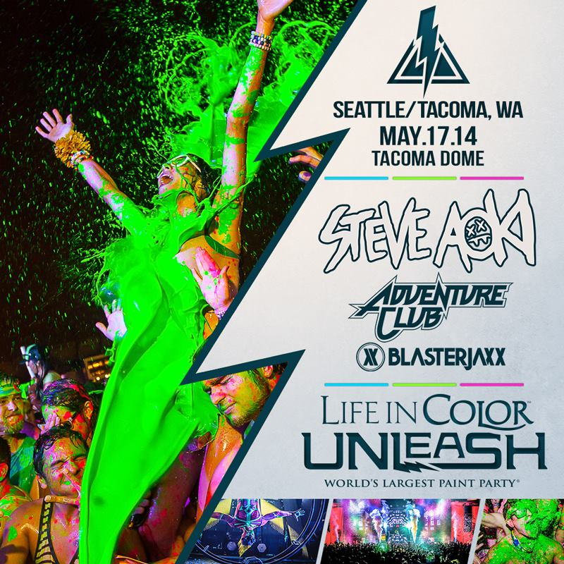 "Life in Color ""World's Largest Paint Party"" returning to the Tacoma Dome with Steve Aoki & Adventure Club!"
