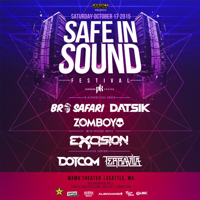 Safe In Sound Fest – Seattle:  Bro Safari, Datsik, Excision, Zomboy & More!