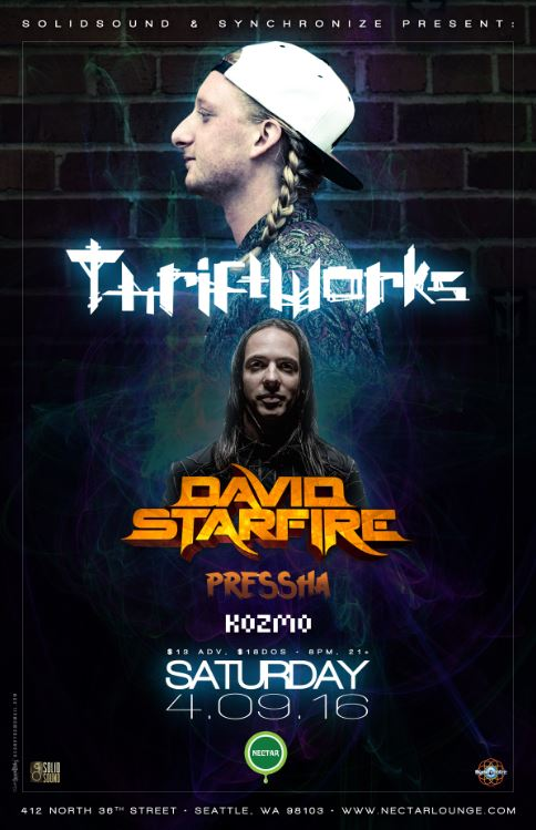 TICKET GIVEAWAY:  Thriftworks with David Starfire, Pressha and Kozmo