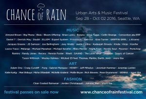 CHANCE OF RAIN FESTIVAL at Various Venues @ Various Venues, Seattle