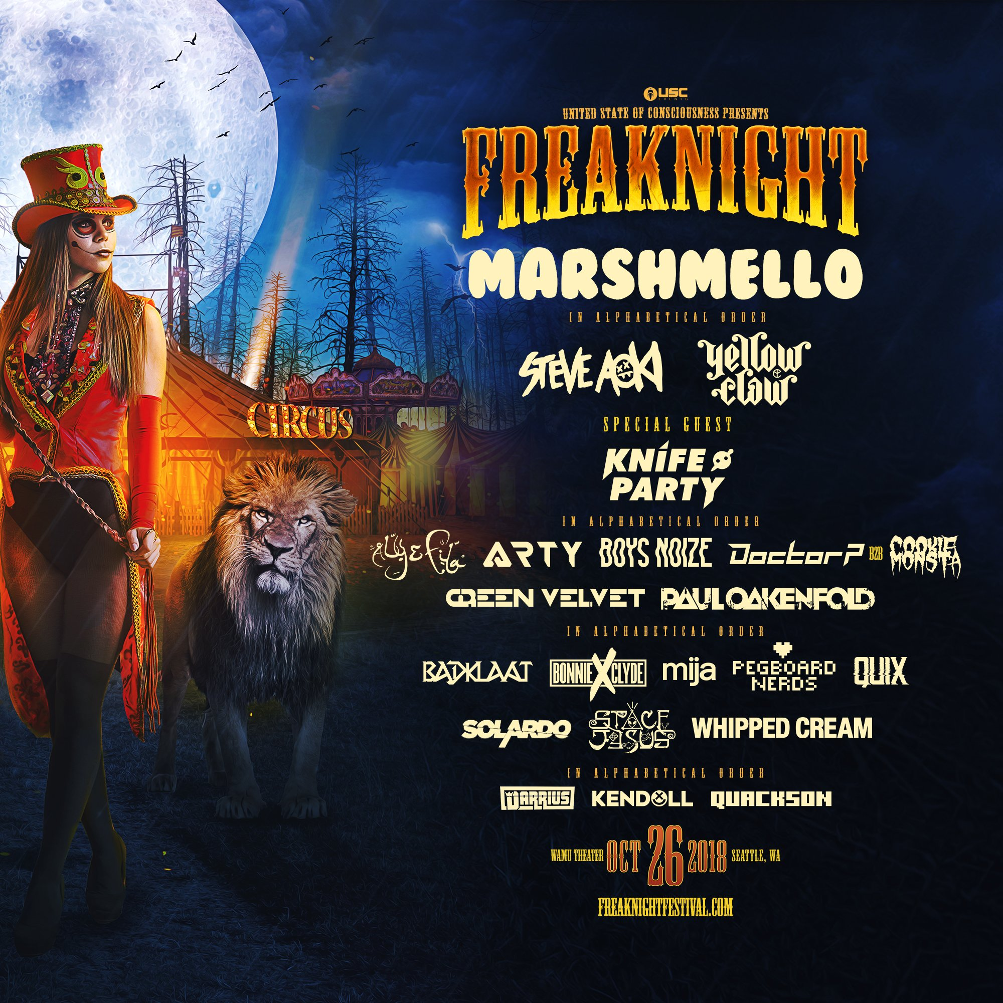 FREAKNIGHT FESTIVAL: Marshmello, Steve Aoki, Yellow Claw, Knife Party & More!