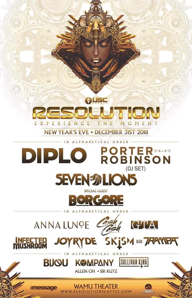 RESOLUTION NYE 2019: Diplo, Porter Robinson (DJ set), Seven Lions & Borgore!