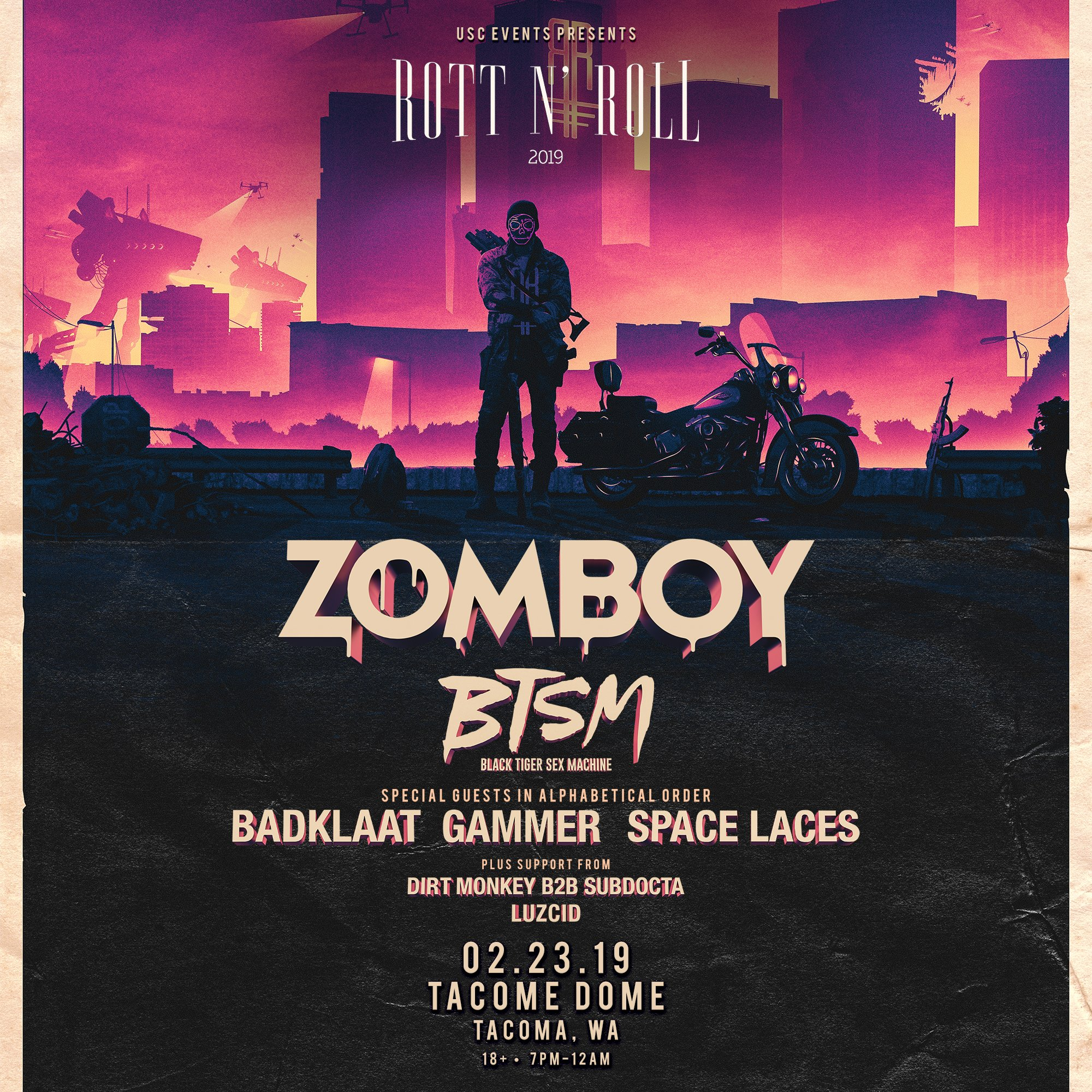 Zomboy with BTSM, Badklaat, Gammer, Space Laces, Dirty Monkey, Subdocta & Luzcid