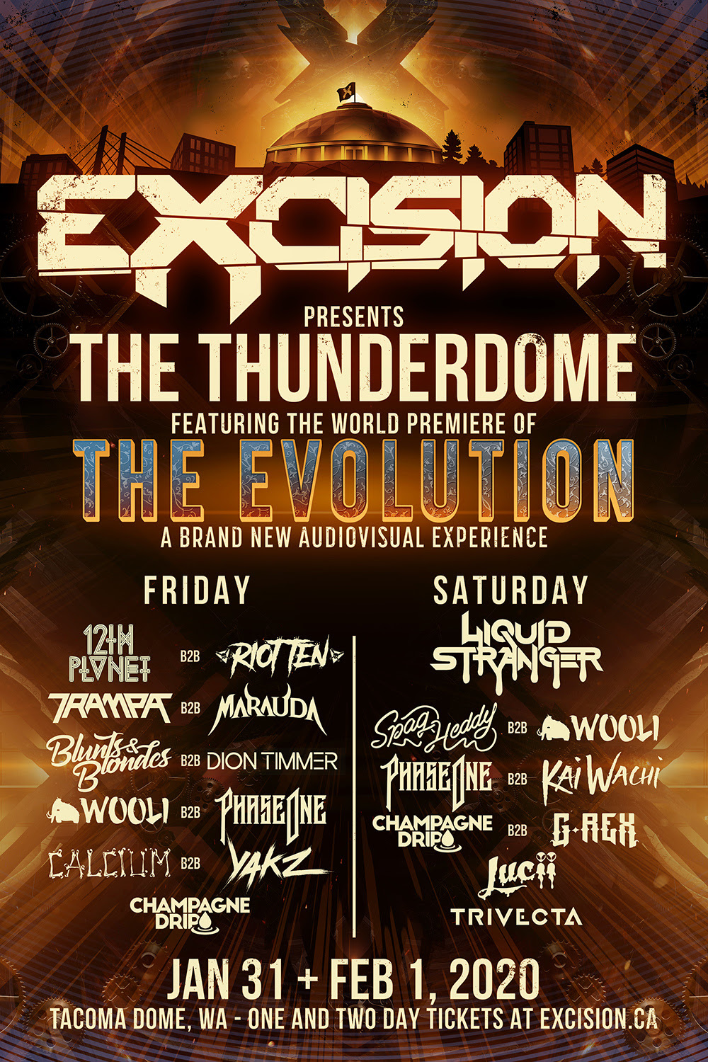 Excision with Liquid Stranger, Spag Heddy, Wooli, PhaseOne, Kai Wachi, Champagne Drip, G-Rex, Lucii & Trivecta