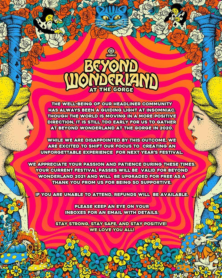 Beyond Wonderland PNW: Postponed to 2021
